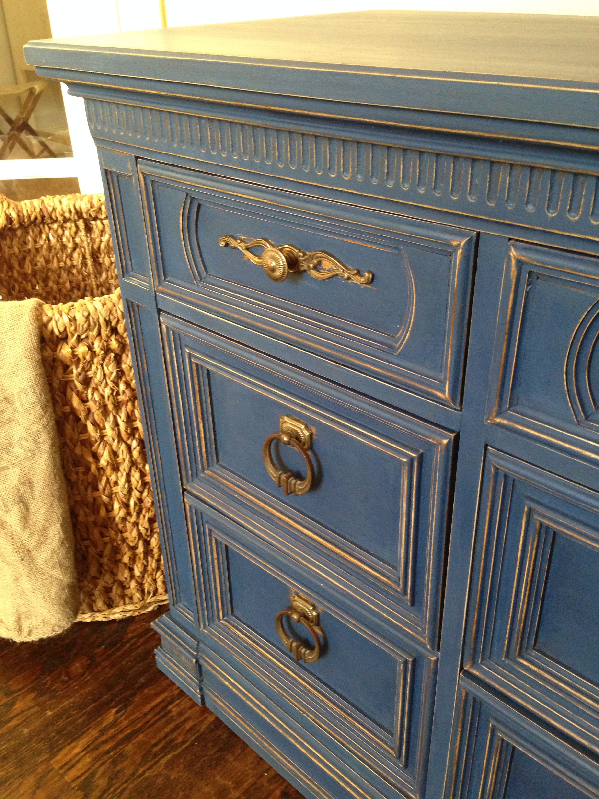 Annie Sloan S Napoleonic Blue My Favorite I Distressed All The Edges To Make The Details Pop Painting Furniture Diy Napoleonic Blue Paint Furniture