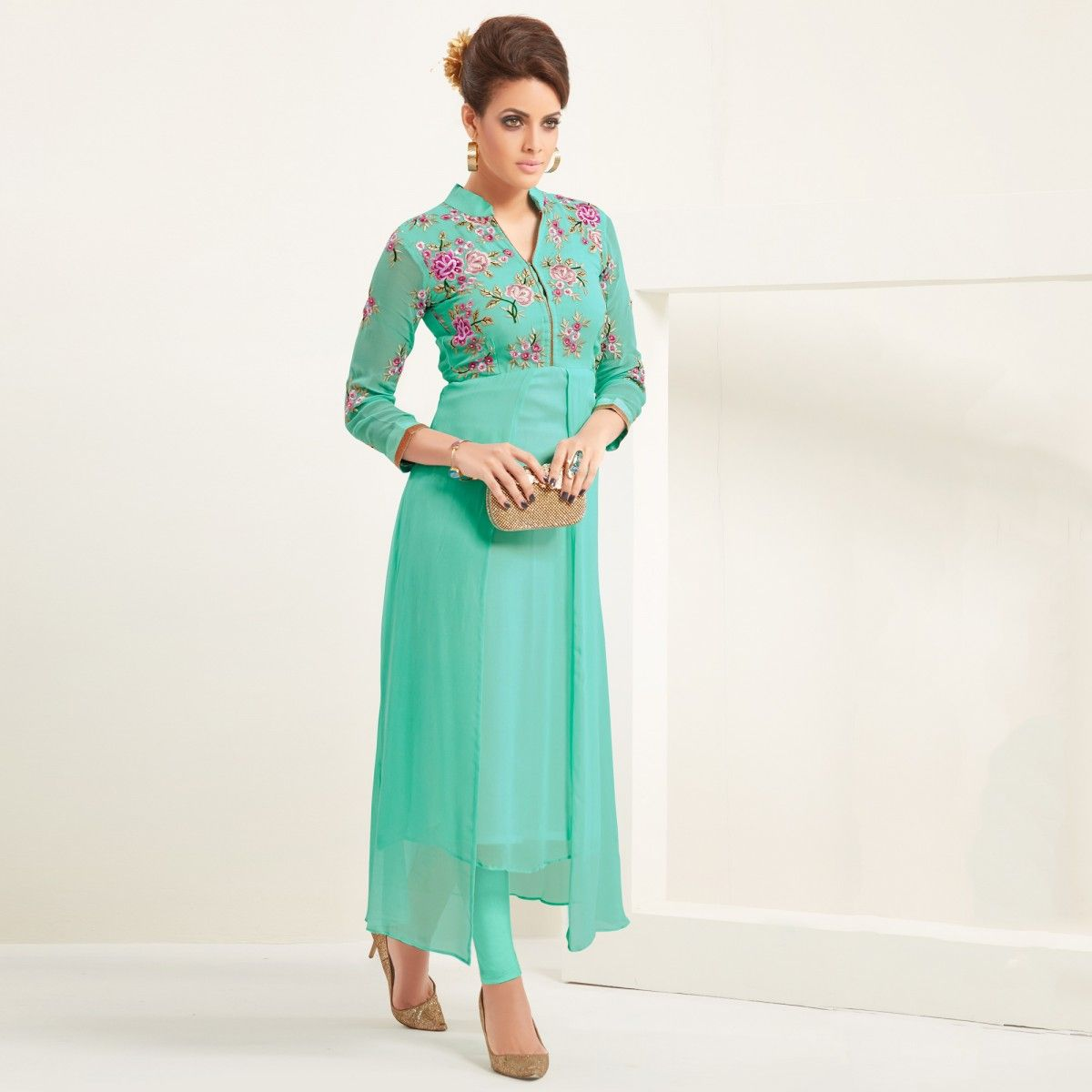 247ed3680 Buy Aqua Green Georgette Kurti - Latest Kurti s Online Shopping at Peachmode