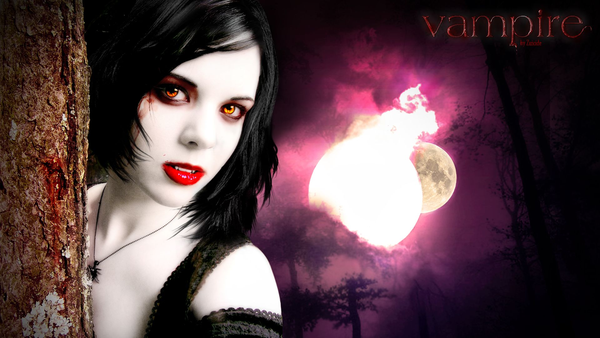 Vampire Girl on Purple Night wallpaper from Vampire ...