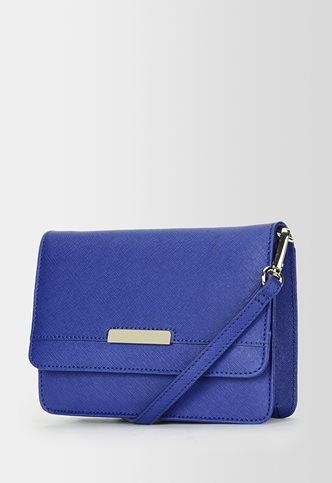 Not too shabby for convenience. ♡ the color! Danier Official Store, Abigail saffiano leather crossbody , cobalt, Handbags, 131011383 $70