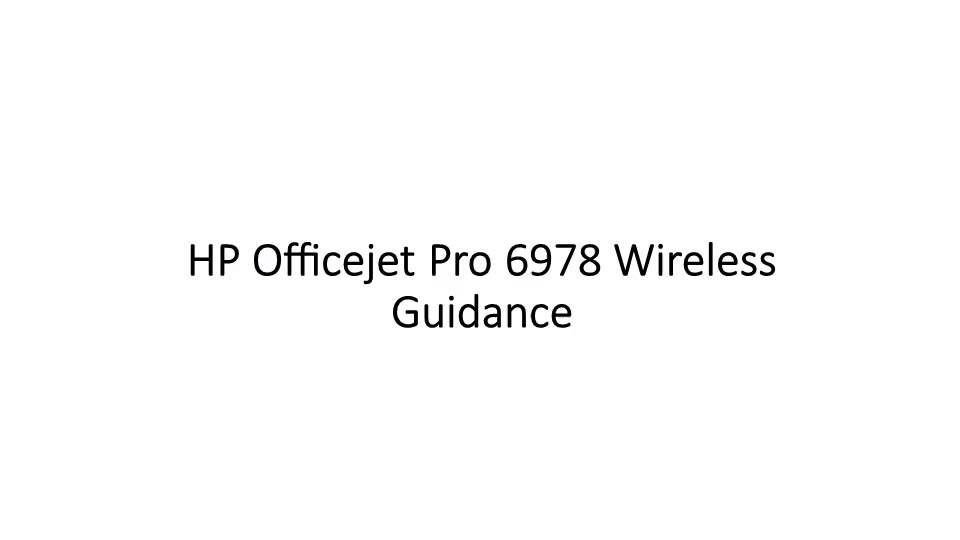 Easy Instructions for HP Officejet Pro 6978 Printer Wireless