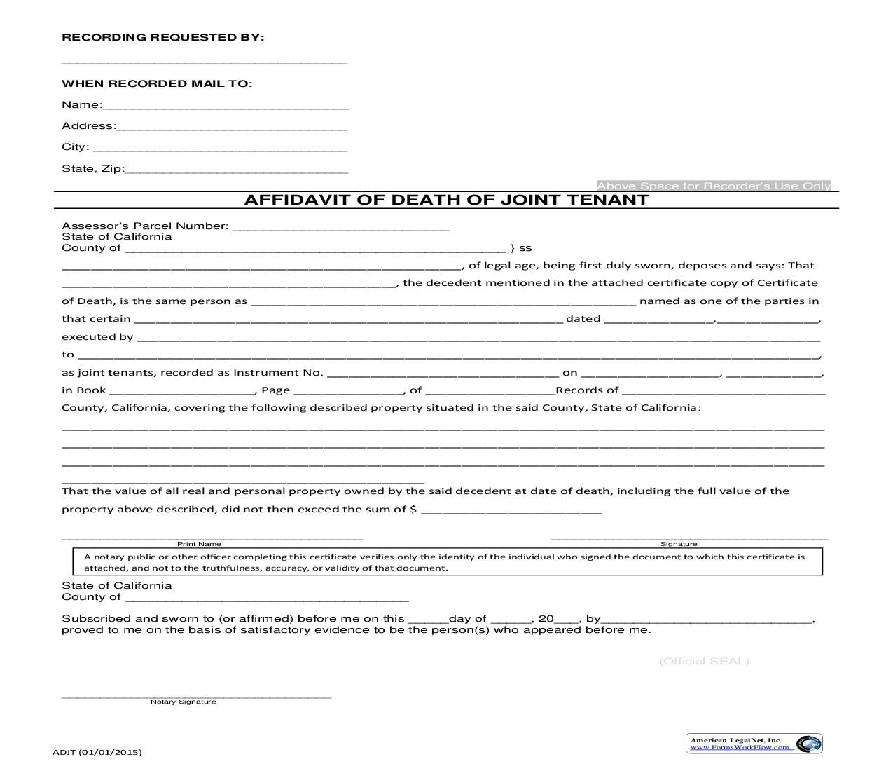 This is a California form that can be used for Assessor