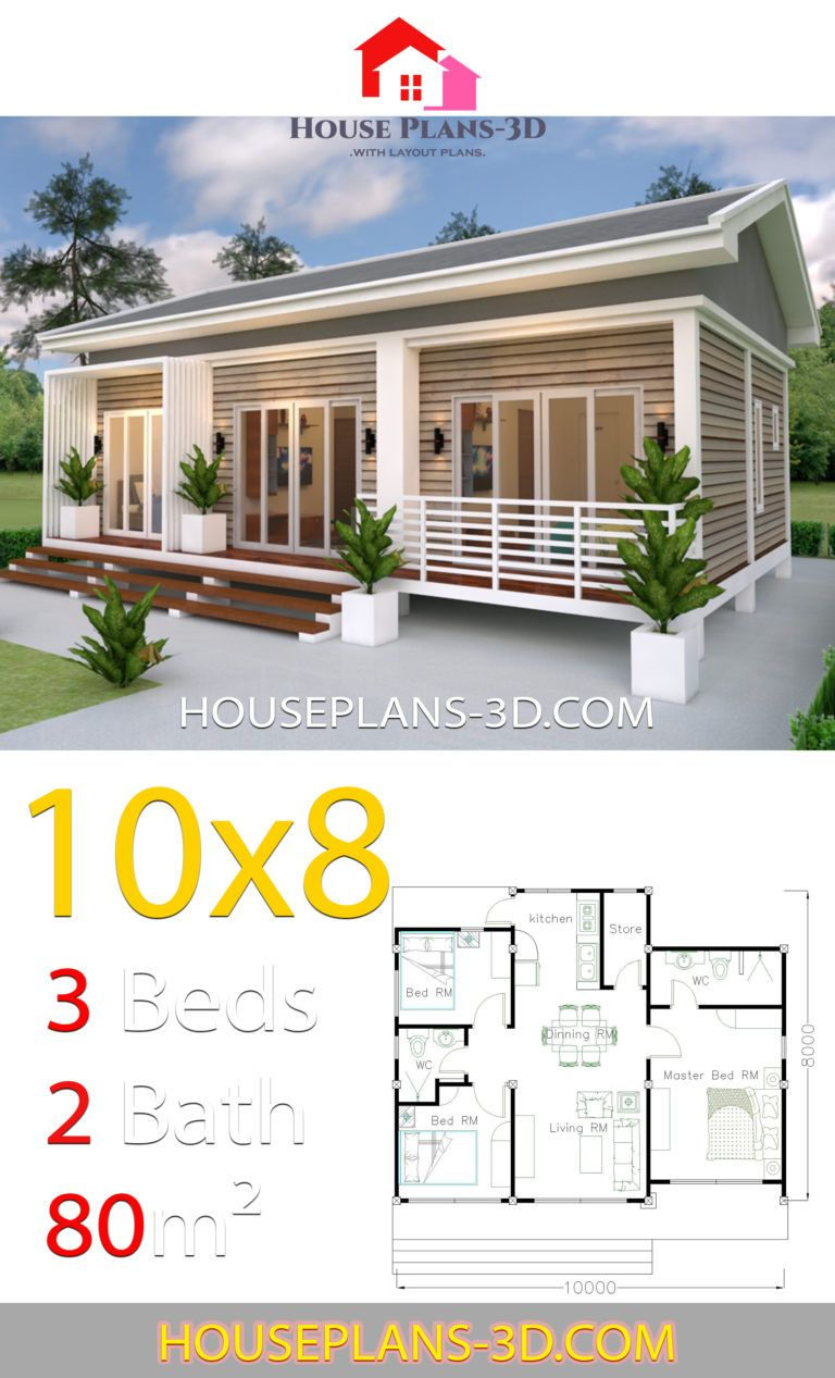 House Plans 10x8 With 3 Bedrooms Gable Roof House Plans 3d House Plans Gable Roof House Beautiful House Plans