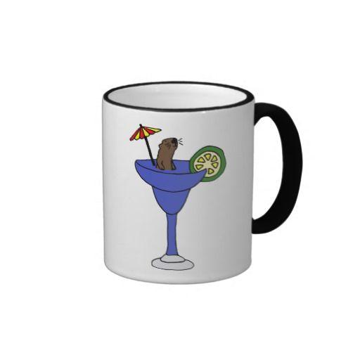 Funny Sea Otter in Blue Margarita Drink Coffee Mugs #otters #mugs #seaotter #margarita #funny #animals And www.zazzle.com/tickleyourfunnybone*