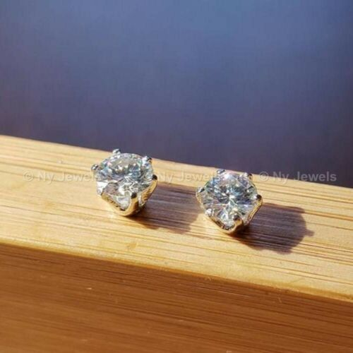 Certified 2 Ct Round Cut Moissanite Solitaire Stud Earrings Solid 14k White Gold