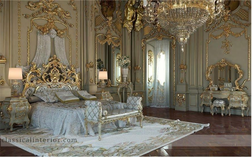 Royal Gold Bedroom Set Carved With King Size Bed Golden Italian Carving By Luxury Furniture