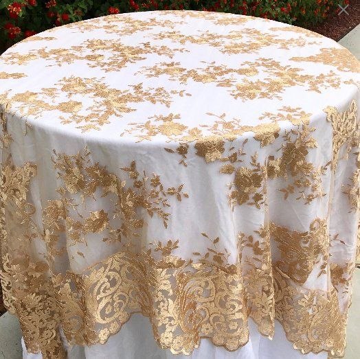 Lace Table Overlay Gold Embroidered Lace Table Overlay Lace Tablecloth Gold Tablecloth Weddings Wedding Decor Glam Wedding Cake Table Gold Tablecloth Wedding Cake Table Gold Wedding Decorations