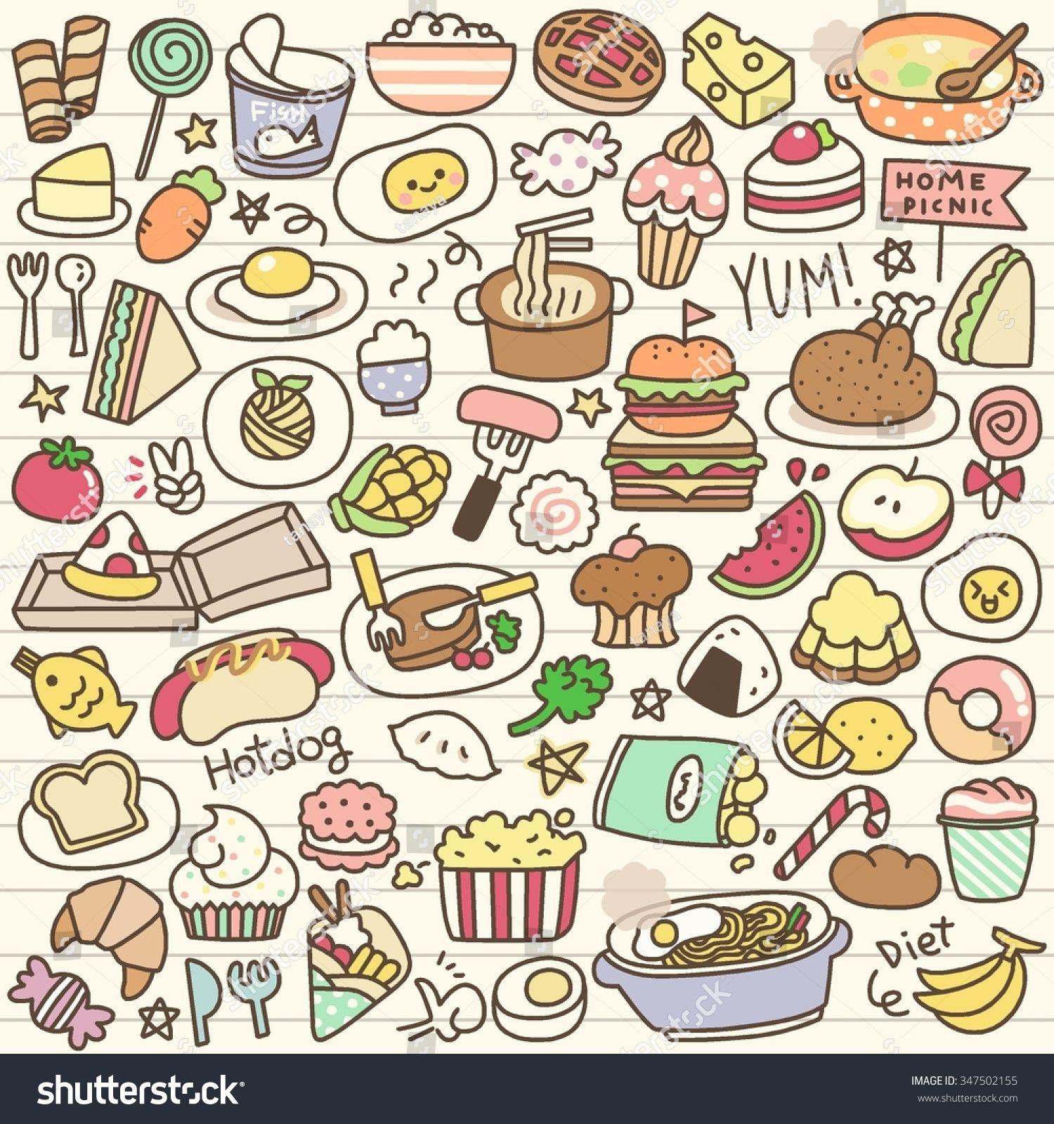 Set Of Cute Food Doodle Cute Food Drawings Food Doodles Kawaii