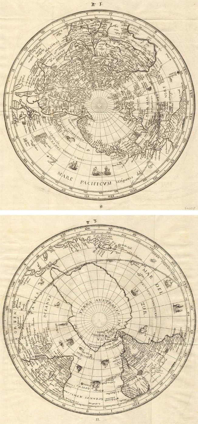 Habrecht | Map Of The World | Northern And Southern Hemisphere | 1628