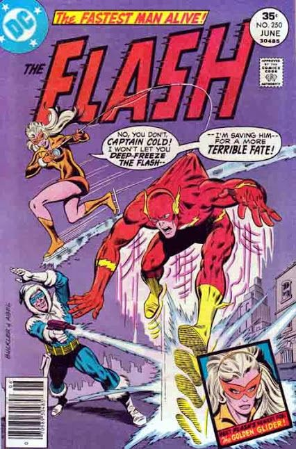 The Flash #250 The Flash is endangered by Captain Cold, until a new foe, the Golden Glider, appears to save him--but only so she may destroy him herself, in vengeance for her dead lover, the Top.