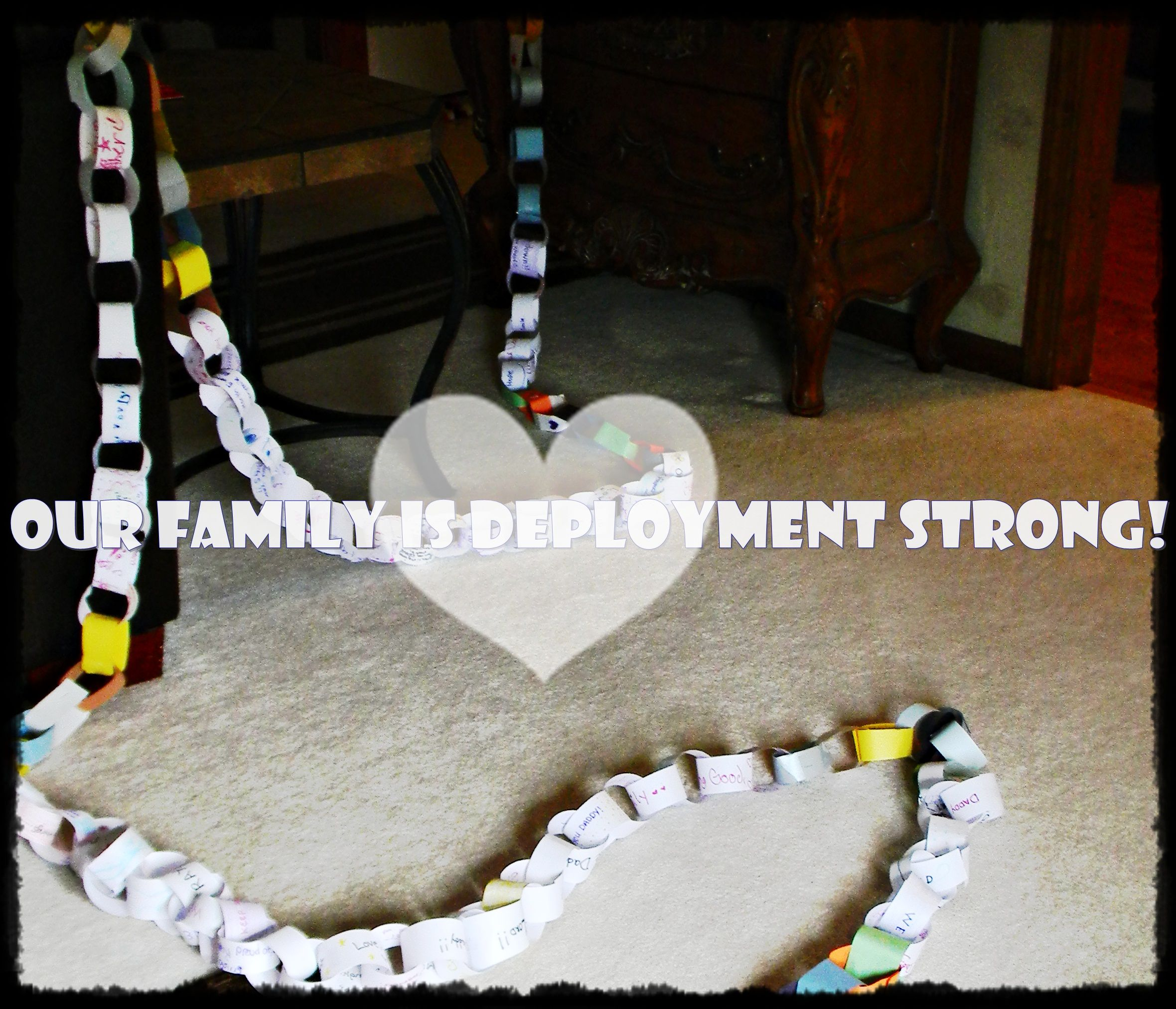 Our paper chain, one chain with an inspirational quote for everyday daddy is gone.