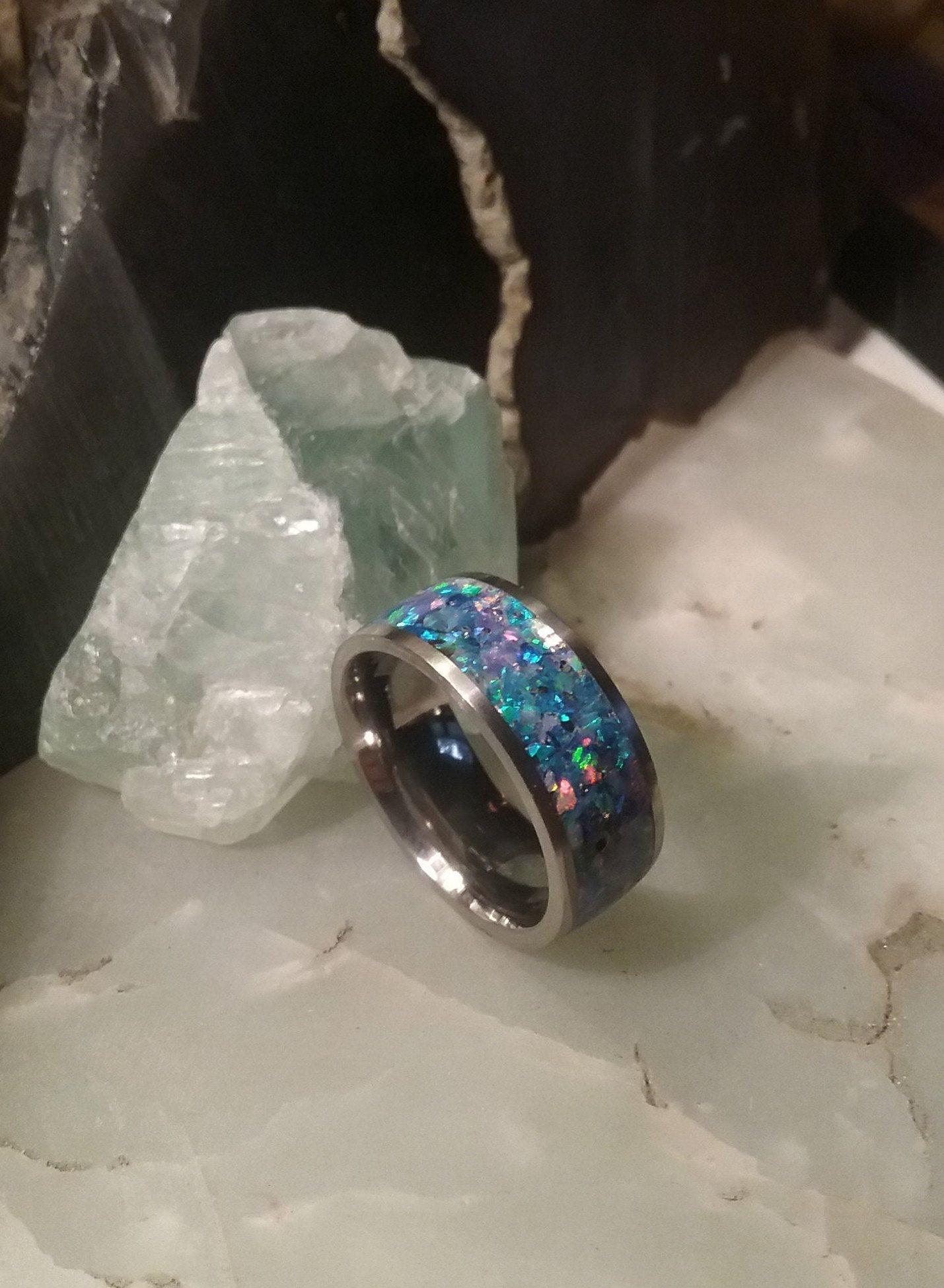 Crushed Opal Comfort Fit Titanium Ring, Men's or Women's
