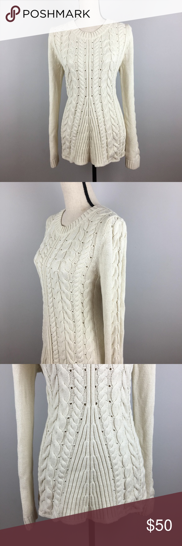 ab58b25c5d cabi style 3157 cream lace up sweater sz m CAbi style 3157 cream lace up  sweater. This sweater is a staple for your Fall wardrobe.