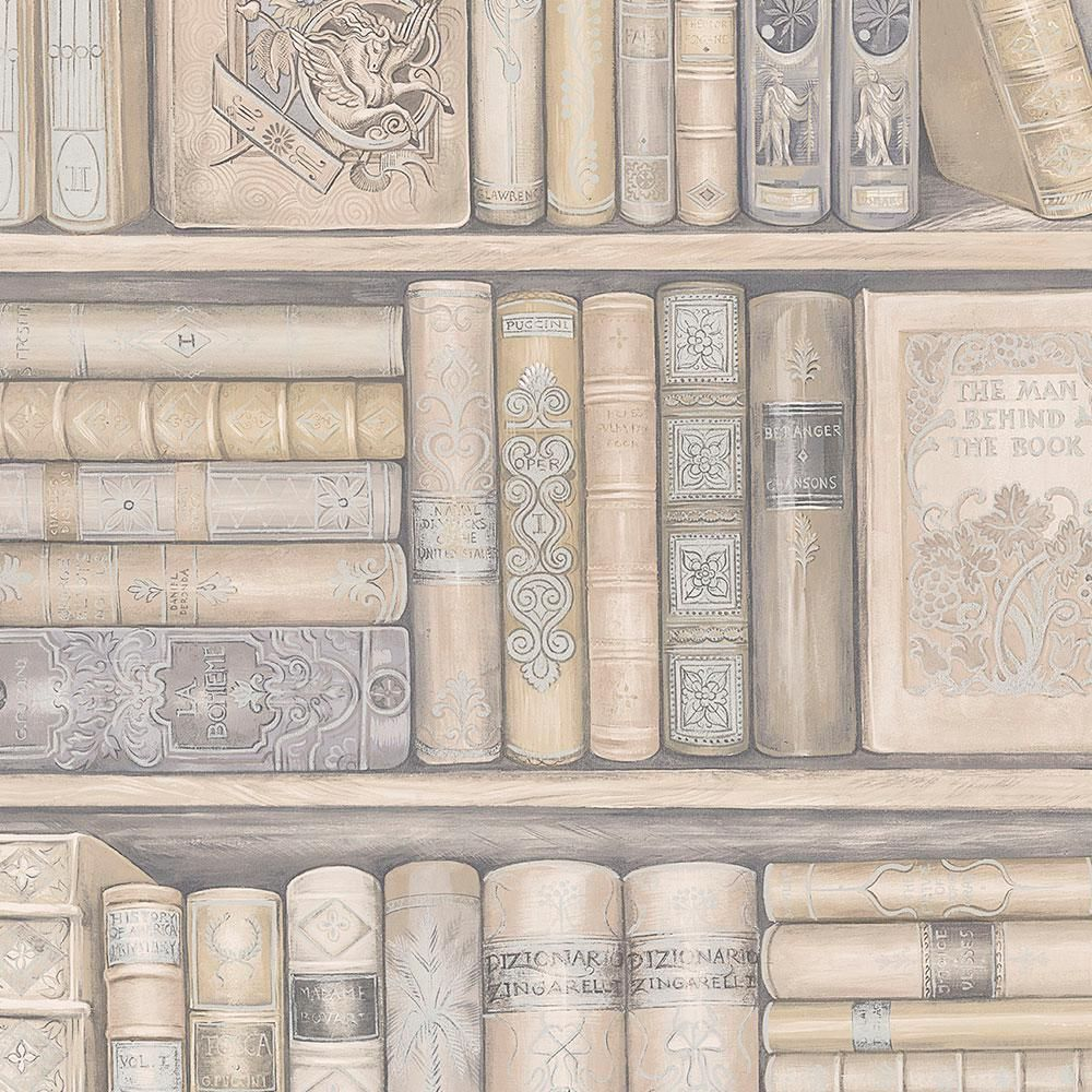 Norwall Bookcase Wallpaper Ivory Grey In 2019 Products