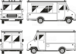 Blank Commercial Food Truck In Different Points Of View Outline With Blank Commercial Food Truck In Different Points Of View Outline Vect Communication Visuelle