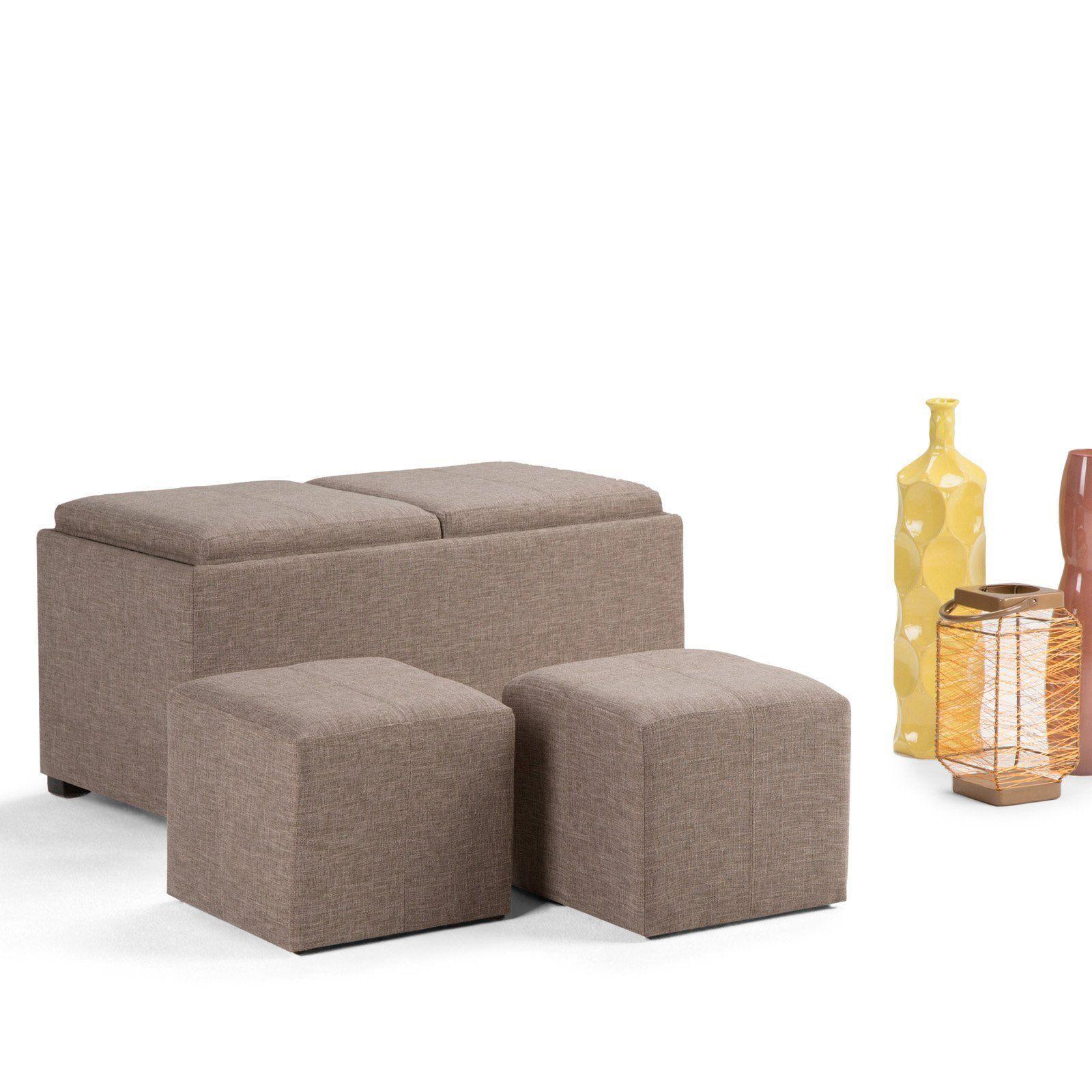 Simpli Home Avalon 5 Piece Storage Bench And Ottoman Set Fawn