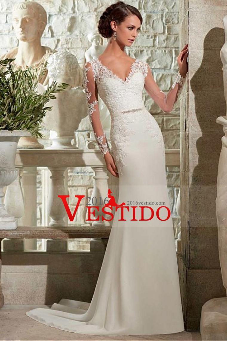 2016 V Cuello vaina / columna de vestidos de novia de tren de la ...