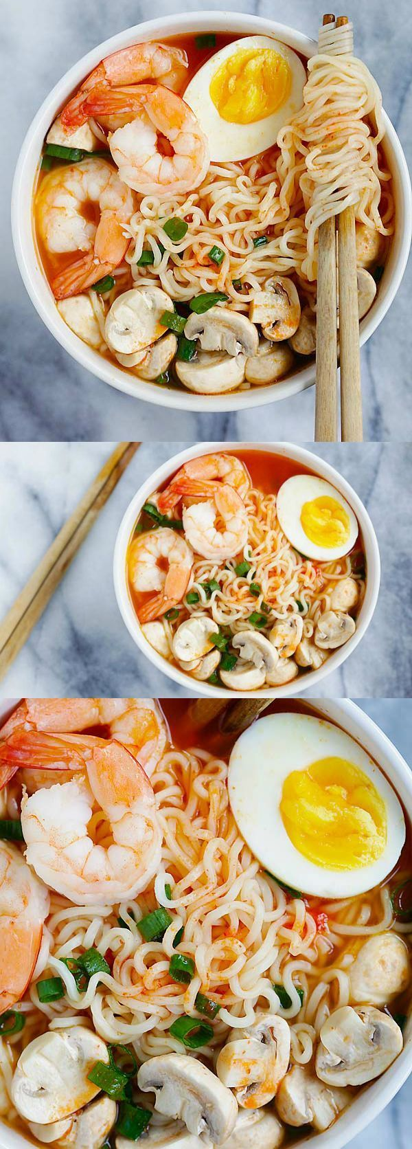 Ramen – the best homemade ramen ever with spicy Sriracha broth and yummy toppings. So easy and takes only 15 minutes |