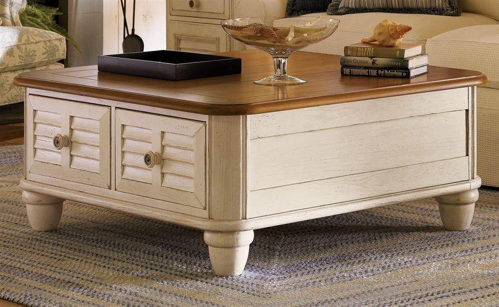 Salt Aire Square Coffee Table W Storage, Bob Timberlake Furniture Coffee Table