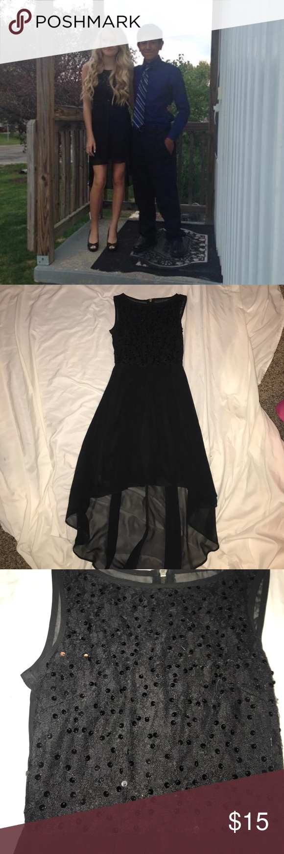 B darlin black lace dress  Black high low dress with lace and sequin  High low Sequins and