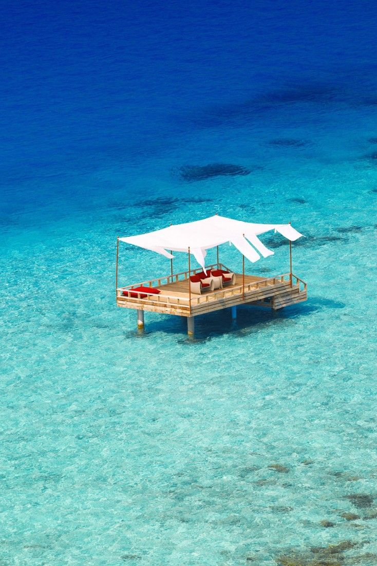 Organize a yoga session on the private overwater deck. #Jetsetter