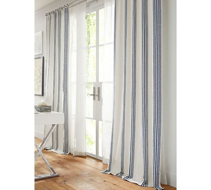 Riviera Stripe Blackout Curtain Charcoal Striped