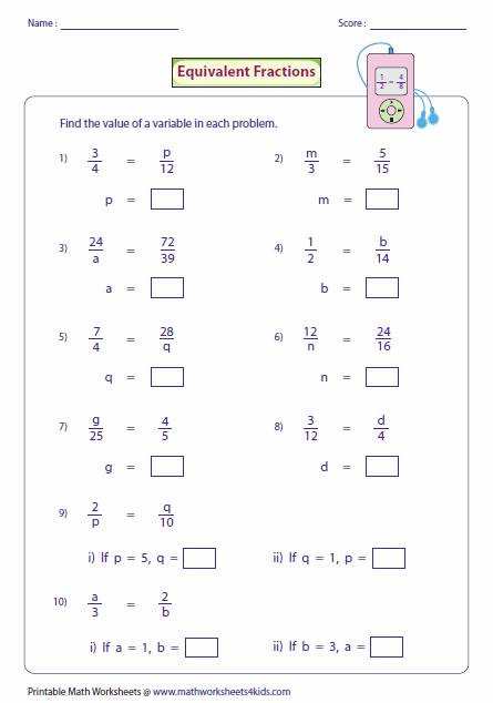 Equivalent Fractions: Missing Variables | Ideas | Pinterest ...