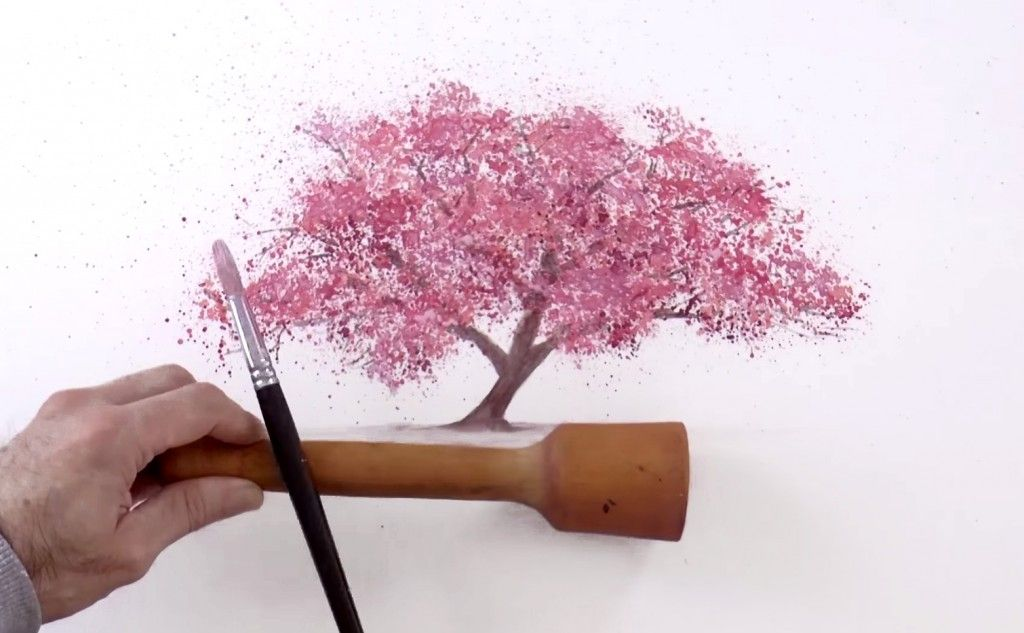 Watercolor Technique To Splatter Cherry Blossom Trees Cherry