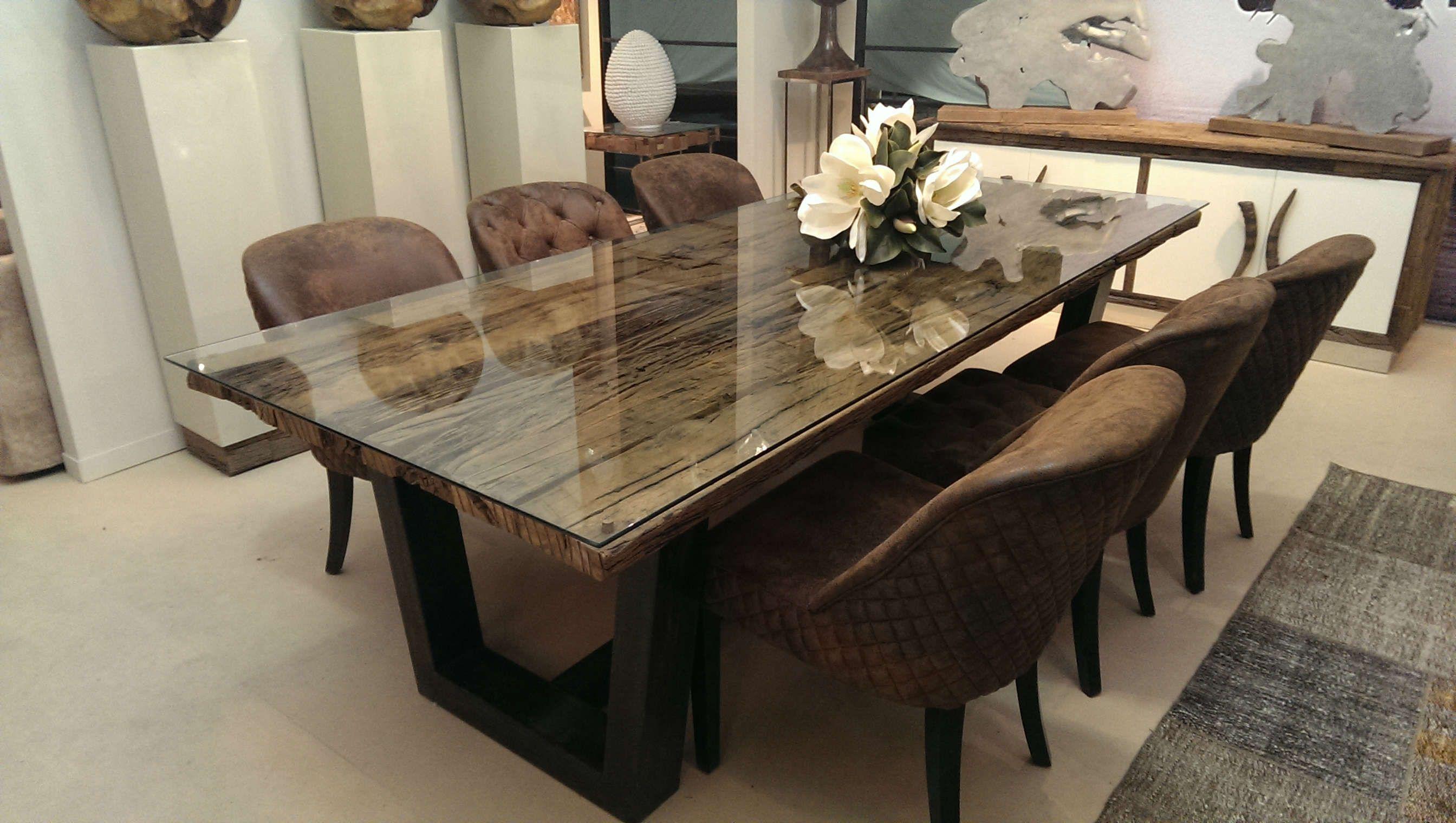 Mesa madera restaurada decoracion pinterest mesas for Ver mesas de comedor