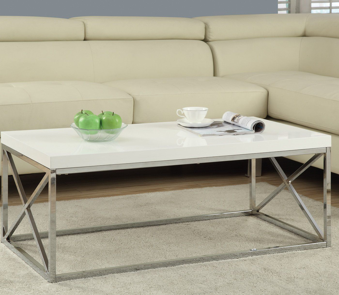 Amazon Com Monarch Metal Cocktail Table Glossy White Chrome Coffee Tables Living Room Coffee Table Cool Coffee Tables Coffee Table [ 1219 x 1400 Pixel ]