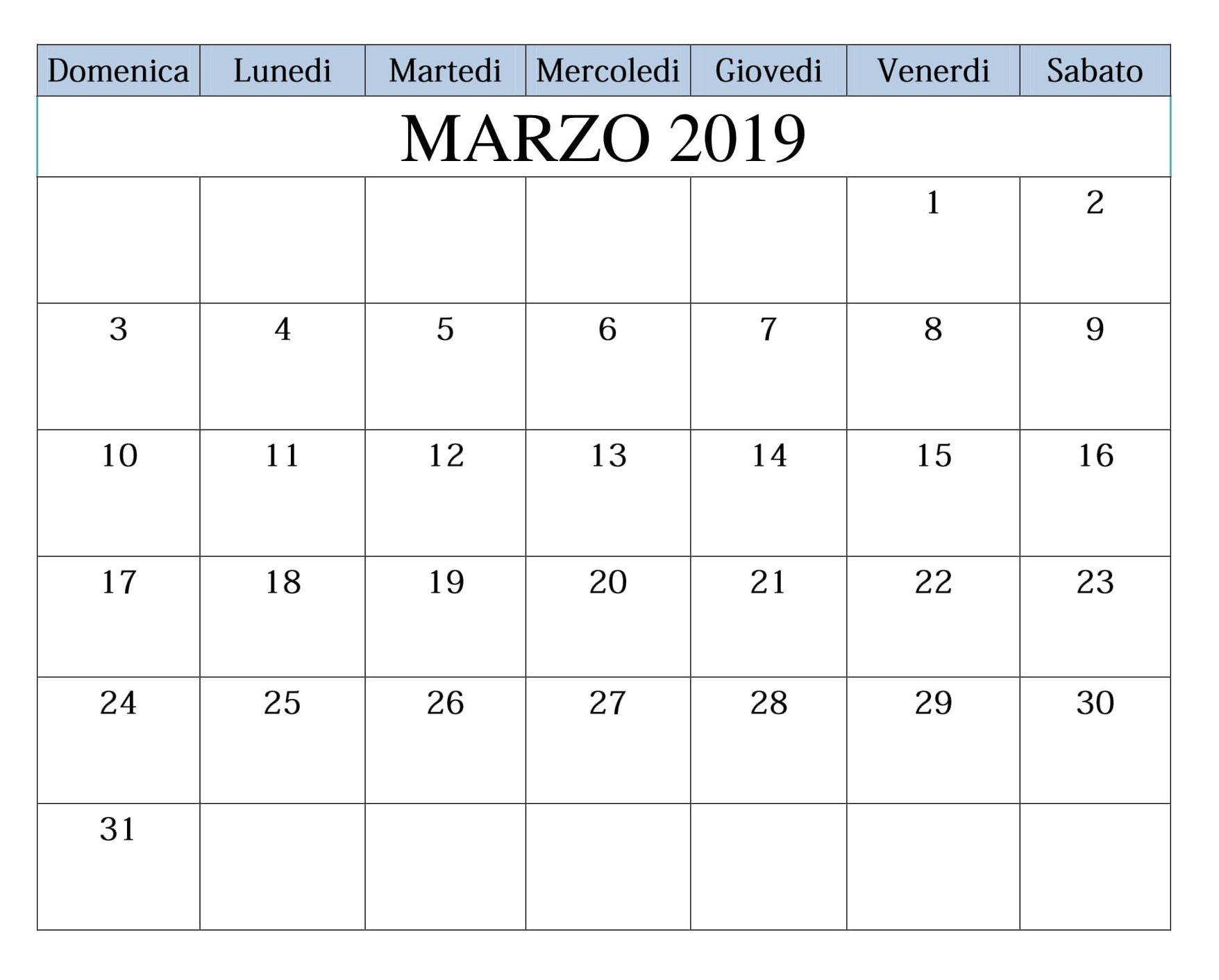 Calendario Word 2019.Marzo 2019 Da Stampare Gratuito Calendario Calendario Marzo 2019