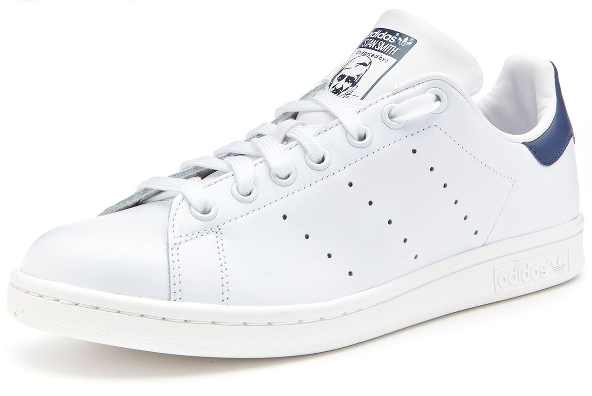 the best attitude afb42 9b5ba adidas-Originals-Stan-Smith-trainers-white-navy-blue-M20325