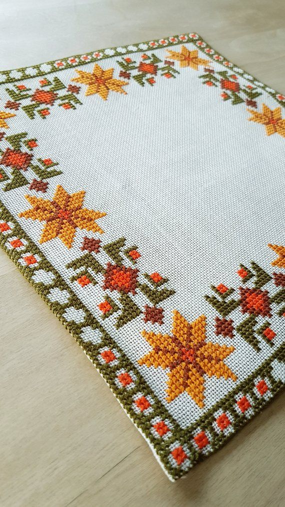 Beautiful autumn cross stitch embroidered tablecloth in white linen from Sweden