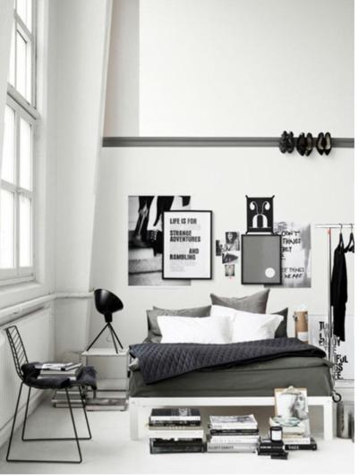 Black White Interior Monochromatic Scandinavian Nordic Black White Inteiror Industrial Bedroom Design Bedroom Styles Bedroom Interior