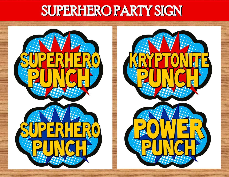SUPERHERO Party - Superhero PUNCH SIGNS - Superhero ...