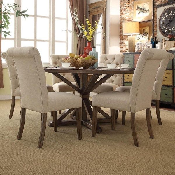 Awesome Benchwright Rustic X Base Round Pine Wood Rolled Back 7 Piece Dining Set By  INSPIRE Q Artisan By INSPIRE Q