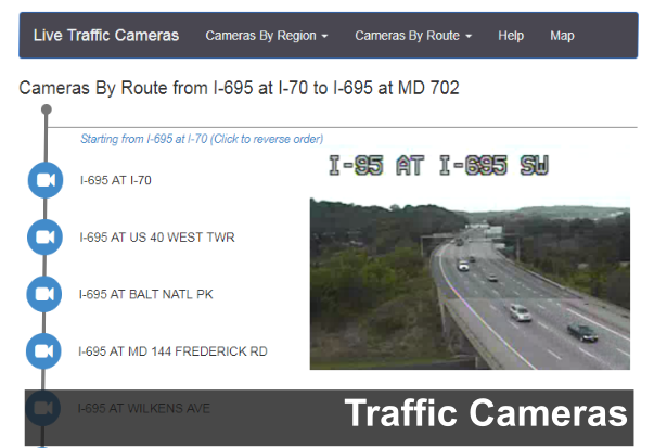 A link to CHART Live Traffic Cameras page image | Maryland weather