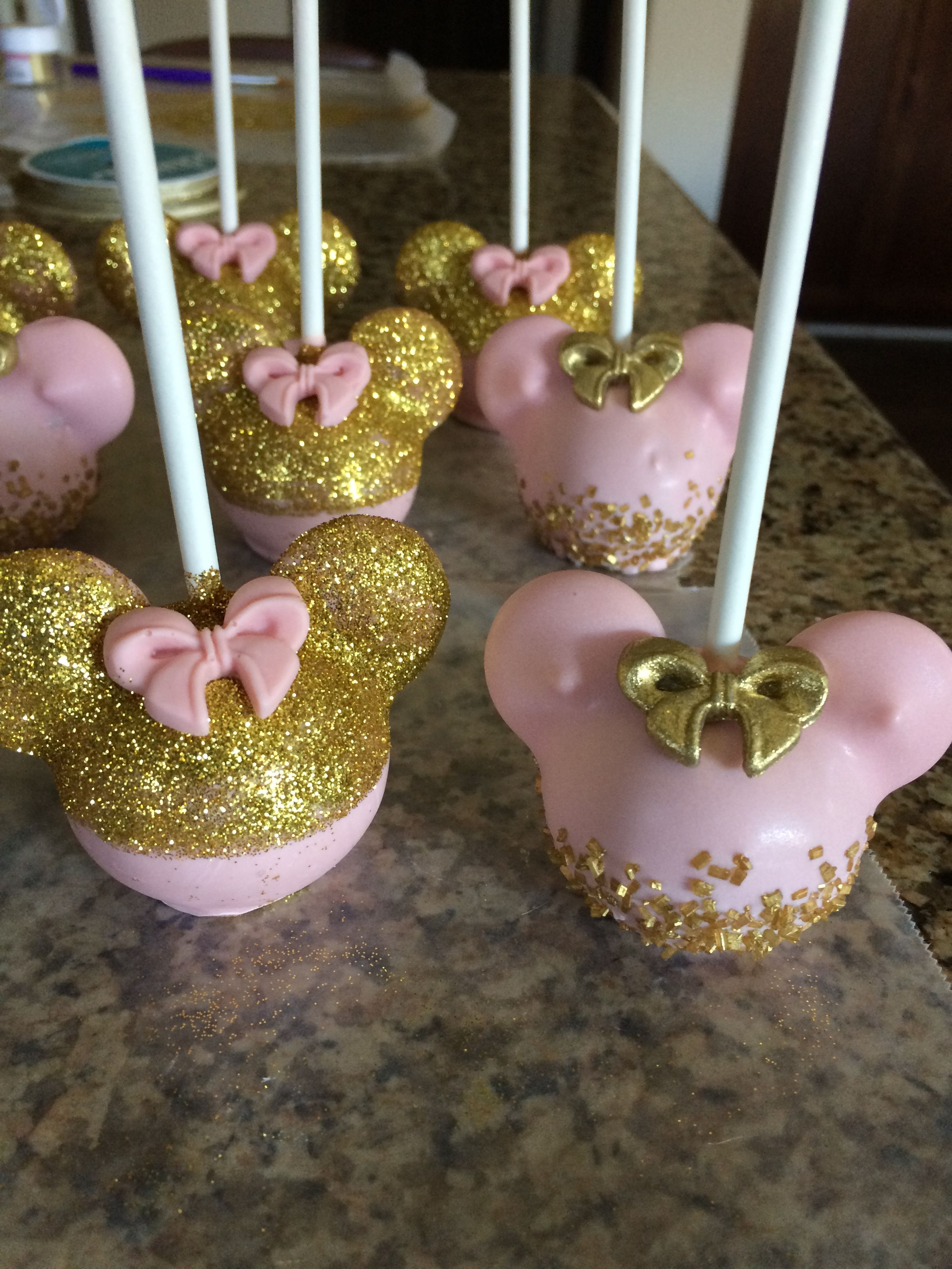 Pink And Gold Minnie Mouse Cake Pops Minnie Mouse First