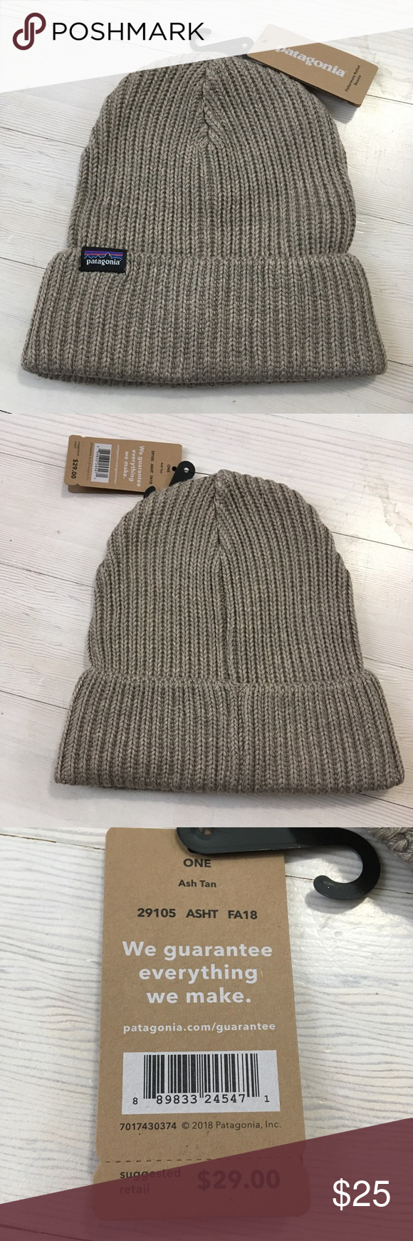 4ef2dc39 Patagonia Fishermans Rolled Cuff Beanie Ash Tan Patagonia Fishermans Rolled  Cuff Beanie Hat Ash Tan. New with tags. Final photograph just shows how it  fits.