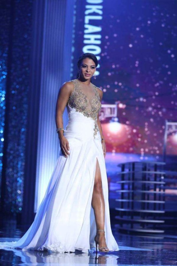 20ae499eb29 Triana Browne represented Oklahoma at the 2018 Miss America pageant in this  stunning gown designed by Jovani! While the white color contrasts well  against ...