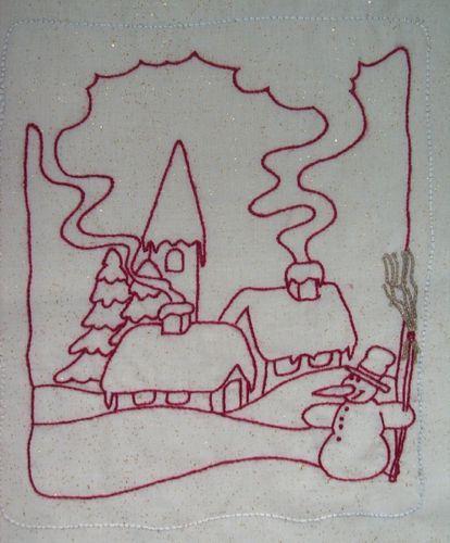 PAYSAGE NOEL - Point de tige - 2   Paysage de noël dessin ...