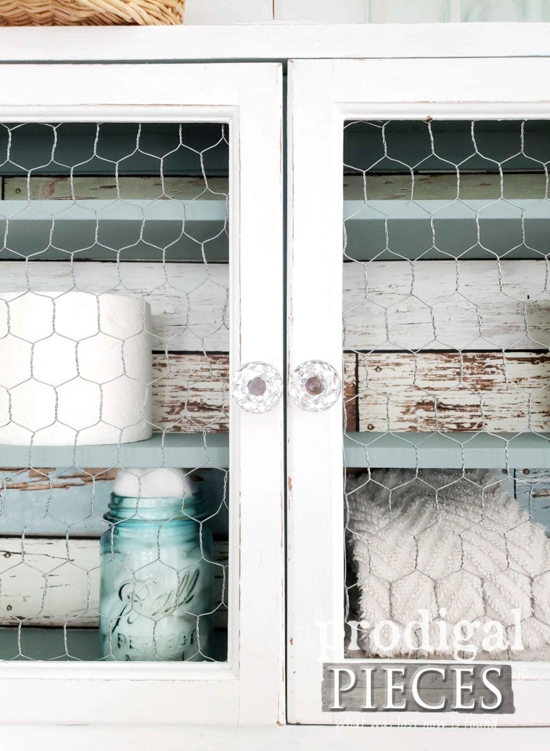 Medicine Cabinet Update Twice The Fun Prodigal Pieces Chicken Wire Cabinets Update Cabinets Diy Kitchen Cabinets