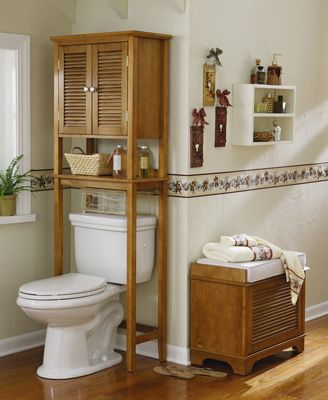 Oak Finish Over The Toilet Bathroom Storage Tower