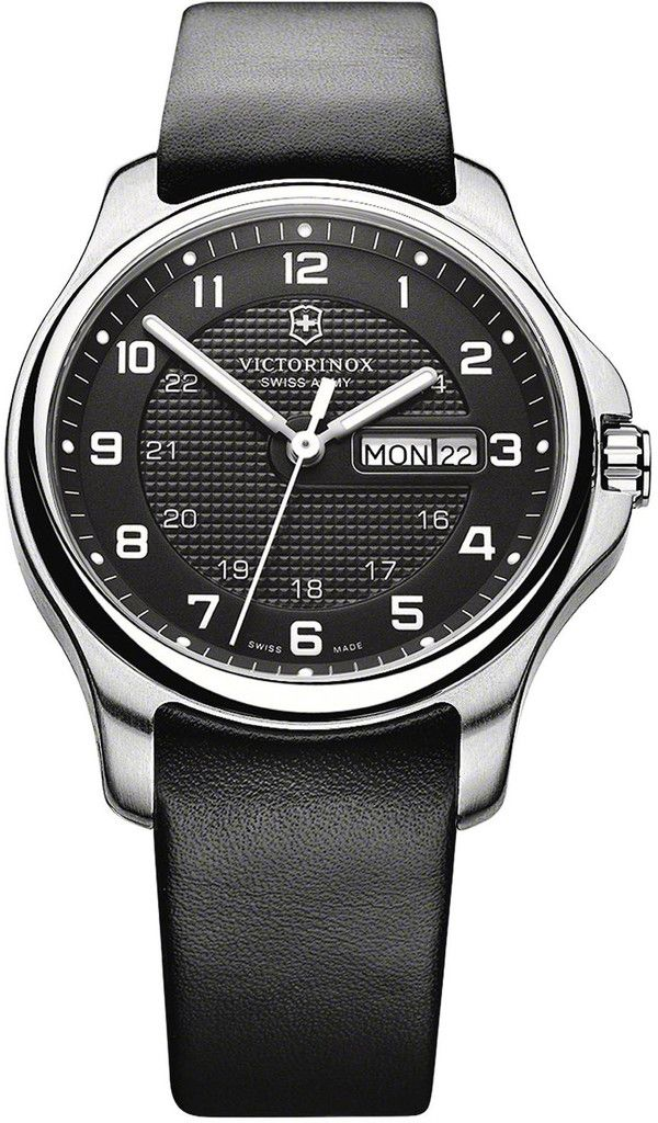 Victorinox Swiss Army Watch Officers Day Date  bezel-fixed   bracelet-strap-leather  brand-victorinox-swiss-army  case-depth-9-5mm   case-material-steel ... e0a9b817126