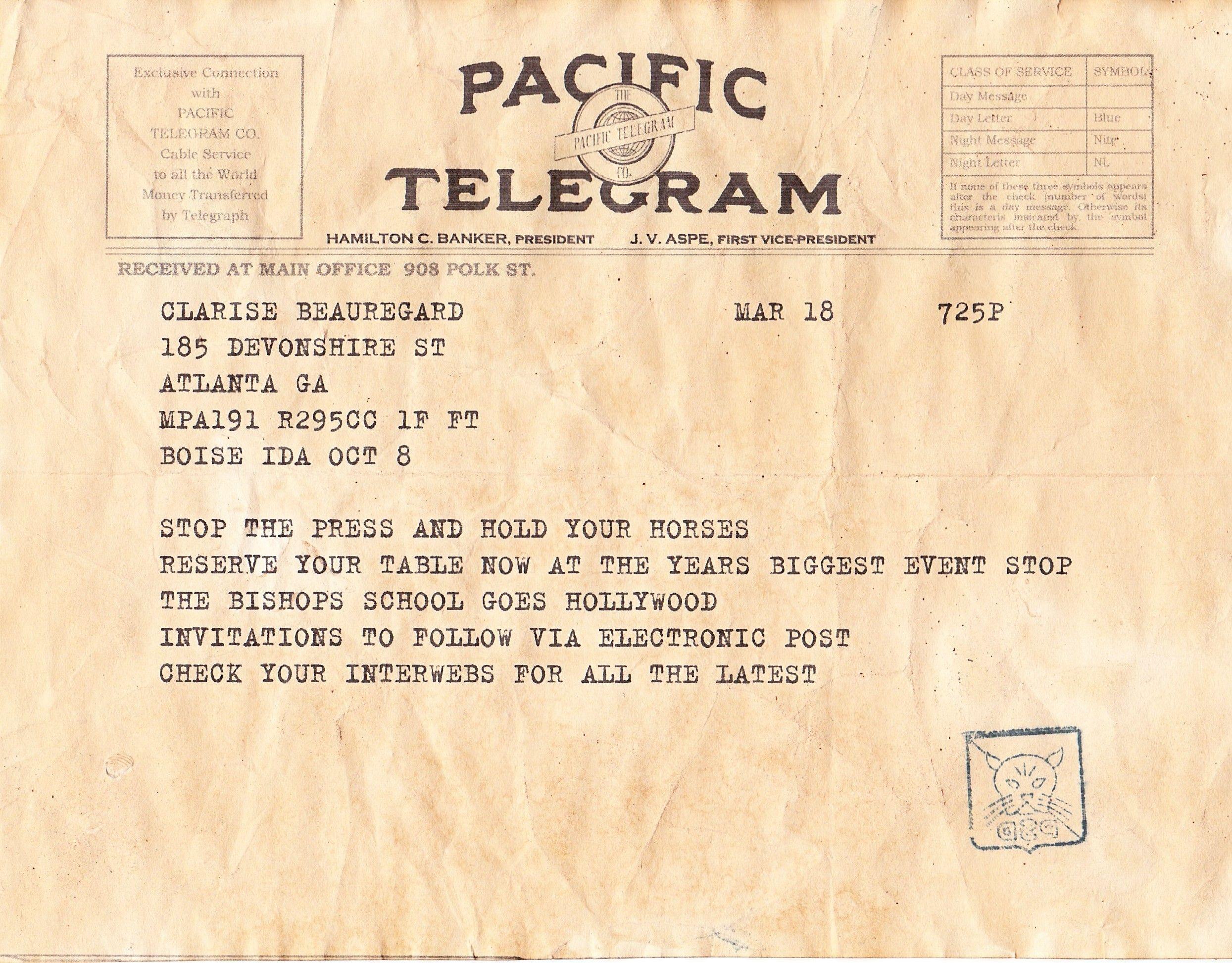 Telegram 5 Pacific Telegram Pacific Atlanta Ga Polk