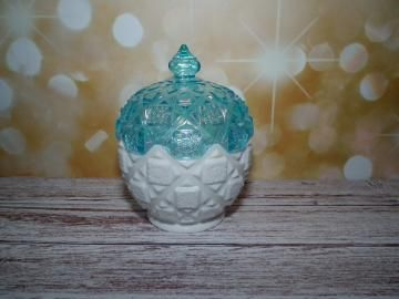 Vintage Westmoreland candy dish white milk glass and blue iridescent by TouchingThePast for $45.00 #zibbet