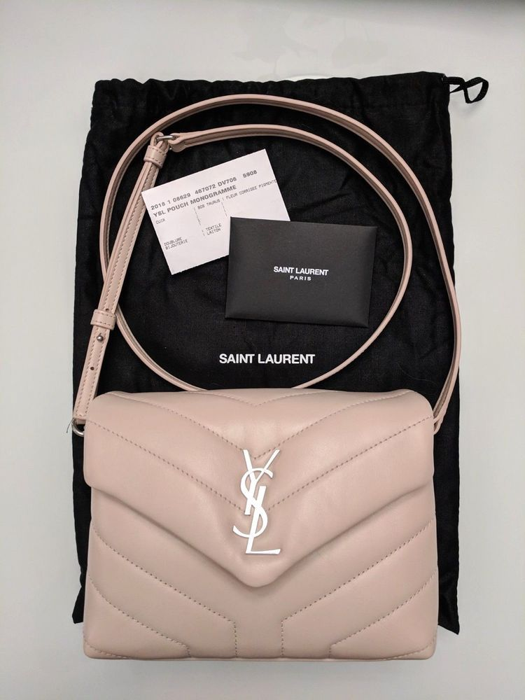 ac43aca6f72d7 Auth Saint Laurent YSL Toy Lou Lou Crossbody Marble Pink Beige Nude Small  Flap  fashion