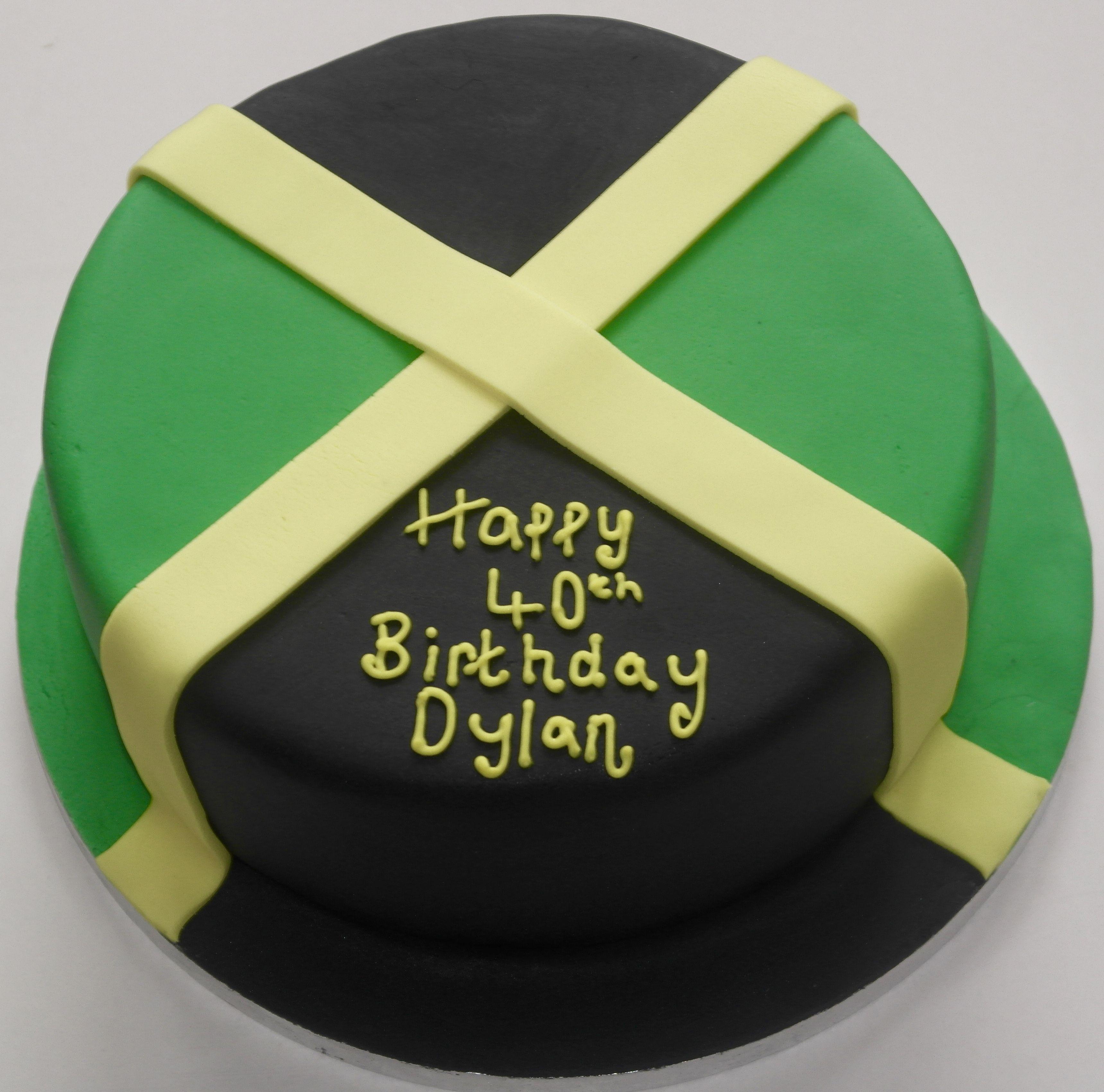 40th birthday Jamaican flag cake rum cake with Jamaican flag