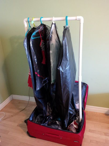 diy portable clothes rack in suitcase for recitals genius - Portable Clothes Rack
