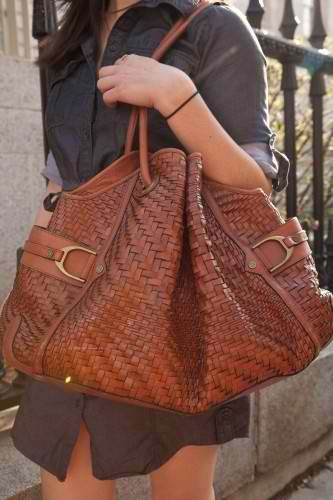 Cole Haan Leather Bag In Genevieve Weave Pattern